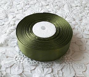 Лента атласная 2,5 см темно-оливковая, лента темно-оливковая атлас, лента атлас, цена за метр