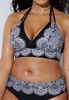 Новинка 2019 года! Женский черный купальник, на пышную грудь, большой размер 58, завязки, с цветочным узором.
