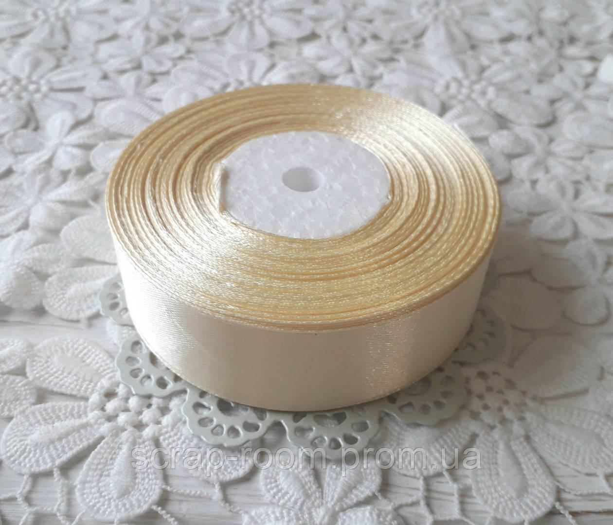 Лента атласная 2,5 см молочная, лента молочная атлас, лента атлас молочная, цена за метр