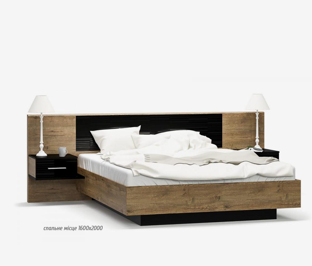 Двуспальная кровать 160 Фиеста с тумбочками (дуб април), производитель Мебель-Сервис