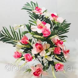 Букет орхидея+роза на 13 голов A-134