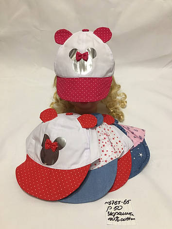Літня дитяча кепка з вушками для дівчинки р. 50 100% cotton, фото 2