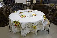 Льняная скатерть на круглый стол