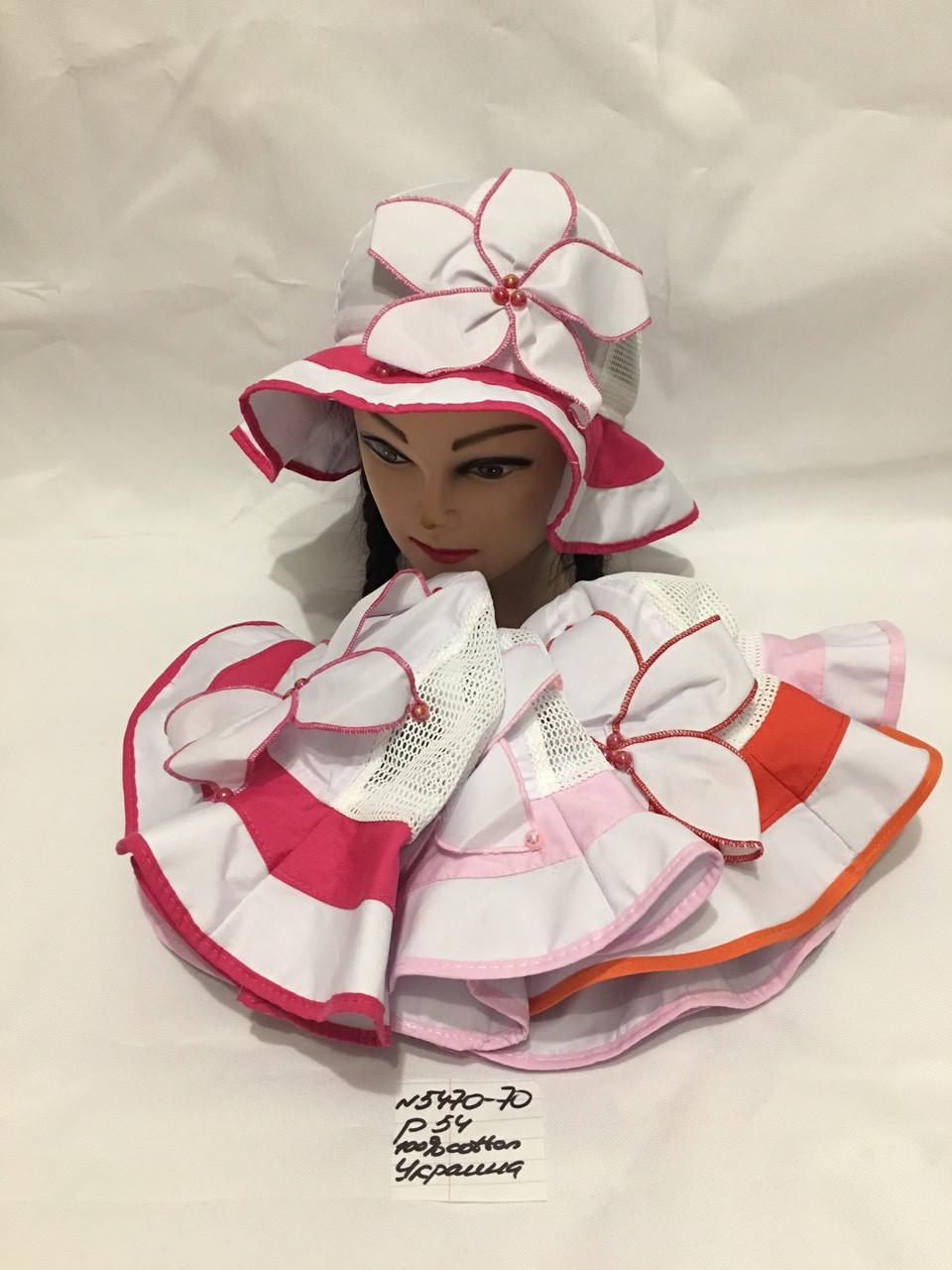Летняя детская панамка для девочки Ромашка р.54 100% cotton