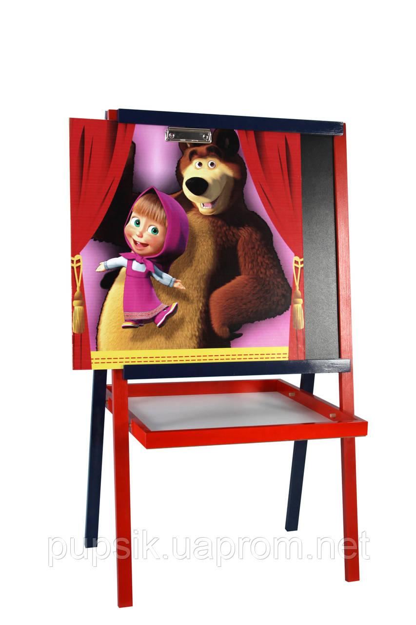 Мольберт цветной с картинкой Маша и медведь 052, Финекс