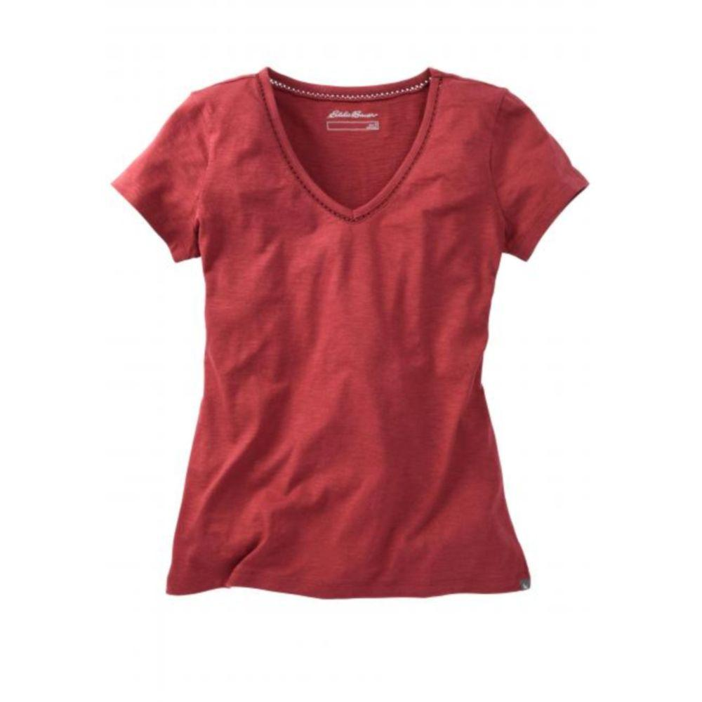 Жіноча футболка Eddie Bauer Womens T-Shirt V-Neck BURGUNDY (S)