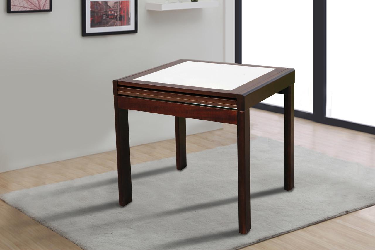 """Розкладний кухонний стіл """"Онікс"""" (темний горіх) 80см"""