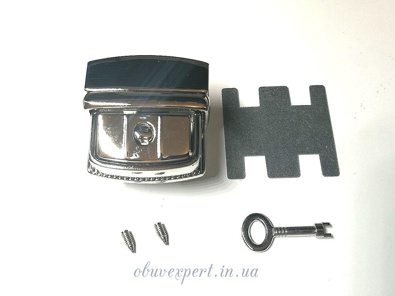 Замок сумочный, портфельный клавишный под ключик 36*37 мм Никель