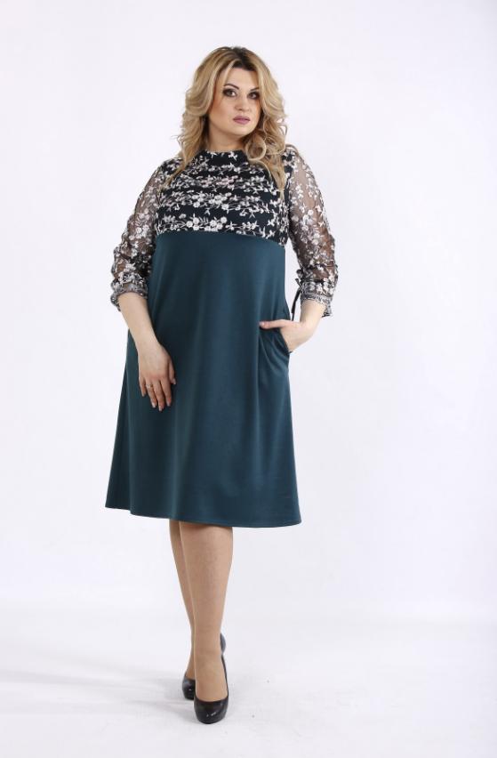 02df319e2a6 Зеленое платье с вышивкой (р. 42-74 ) под заказ купить в Украине по ...