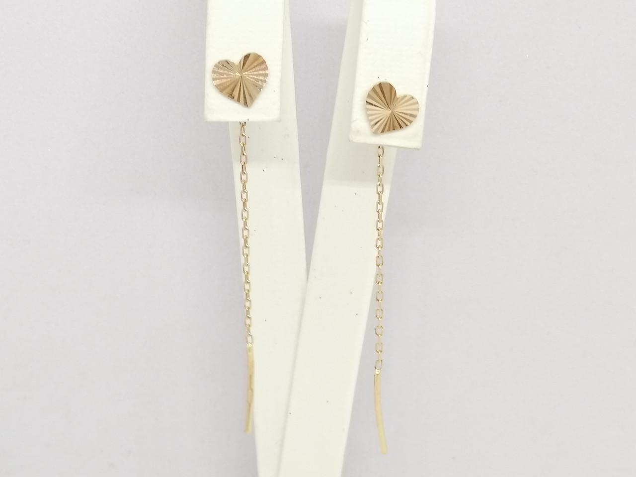 Золоті сережки-протяжки. Артикул 100101