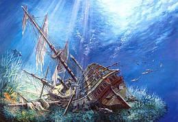 """Пазлы """"Затонувший корабль"""", 2000 эл (подводный мир, рыбки, под водой, рыбы, кораллы, дельфины, затонувший"""
