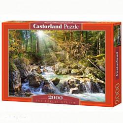 """Пазлы """"Лесной ручей"""", 2000 эл (пейзаж, природа, лес, лесной ручей, водопад, рассвет)"""