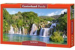 "Пазлы ""Водопад Крка, Хорватия"" , 4000 элементов (пейзаж, природа, лес, водопад, озеро)"