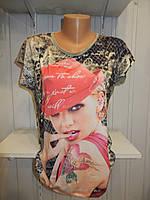 Футболка женская MARAKESH рисунок на фото с камнями 003 / купить женскую футболку оптом, не дорого