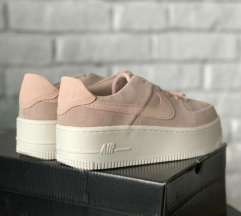 pretty nice bdd54 6ee36 Nike Air Force 1 Sage Particle Beige Phantom   кроссовки женские;  бледно-розовые; на платформе
