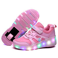 Роликовые LED кроссовки для девочки, размер 30,31,32,34,37 (LR 1201)
