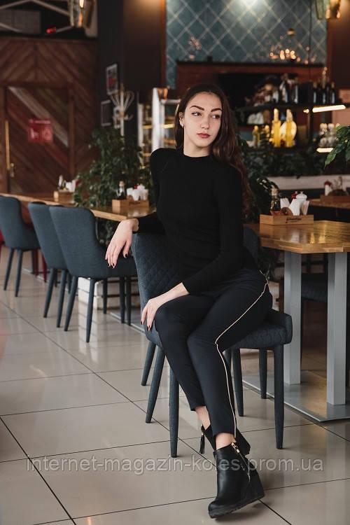 Классические черные брюки с боковым кантом, фото 2