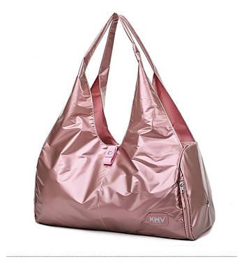 Сумка жіноча дорожня спортивна для фітнесу, подорожей з відділенням для взуття (рожева)