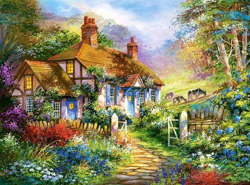 """Пазлы """"Домик в лесу"""", 3000 элементов (пейзаж, природа, сельский пейзаж, домик, цветы)"""