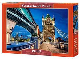 """Пазлы """"Тауэрский мост в Лондоне, Tower Bridge of London"""", 2000 эл (ночной город, ночние огни, архетектура,"""