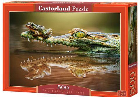"""Пазлы """"Смелая лягушка"""", 500 элементов (лягушка, жаба, жабка, природа, животные)"""