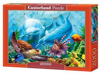 """Пазлы """"Дельфины в океане"""", 2000 элементов (подводный мир, под водой, кораллы, дельфины, черепаха, экзотические рыбки)"""