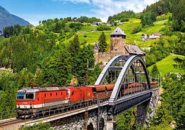 """Пазлы """"Поезд на мосту """", 500 элементов (поезд, река, мост, природа, красивый пейзаж, европа, архитектура)"""