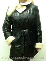 Дубленка женская кожа/мех двубортная с воротником стойкой