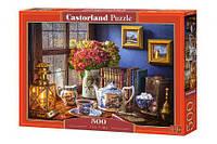 """Пазлы """"Чаепитие"""", 500 элементов (картина, живопись, натюрморт, цветы, цветочный пазл, букет в вазе)"""