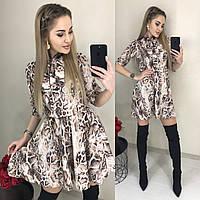 Красивое платье с рассклешенной юбкой коричневое с ультрамодным змеиным принтом 42 44 46, фото 1
