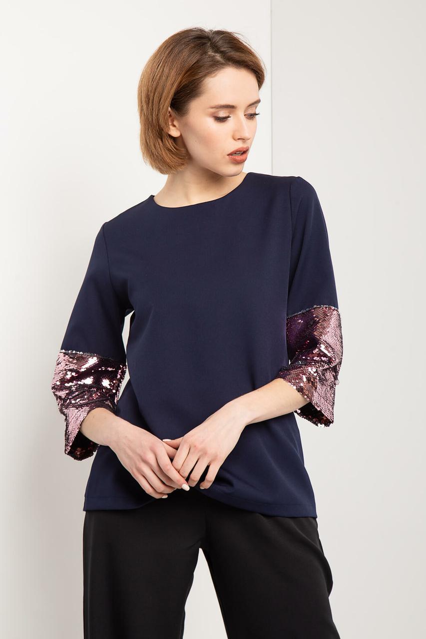 Синий блузон TWINKLE прямого кроя с укороченными рукавами в блестящие пайетки