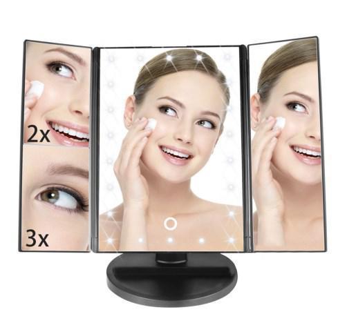 Зеркало с подсветкой для макияжа 22 LED с боковыми зеркалами | настольное складное | Зеркало косметическое |