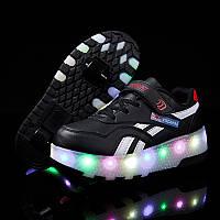 Роликовые кроссовки с LED подсветкой, черные на 2-х колёсах, размер 30,31,36 (LR 1204)