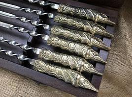 """Комплект шампуров """"Щука """" в кейсе из натурального дерева"""
