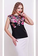 GLEM Хризантемы черный футболка Киви б/р, фото 1