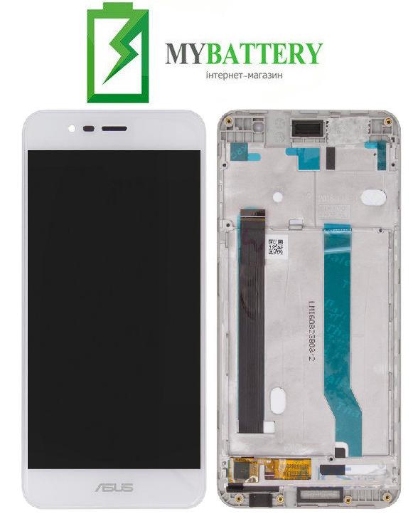 Дисплей (LCD) Asus ZenFone 3 MAX (ZC520TL) с сенсором белый + рамка