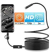 Эндоскоп ALVIVA видеоскоп 5,5мм длина 2м Инспекционная камера Разрешение 960х720 гибкий кабель, фото 1