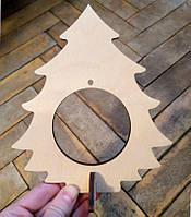 Елка под игрушку деревянная (из фанеры, лазер), на подставке, 19 см, под декорирование