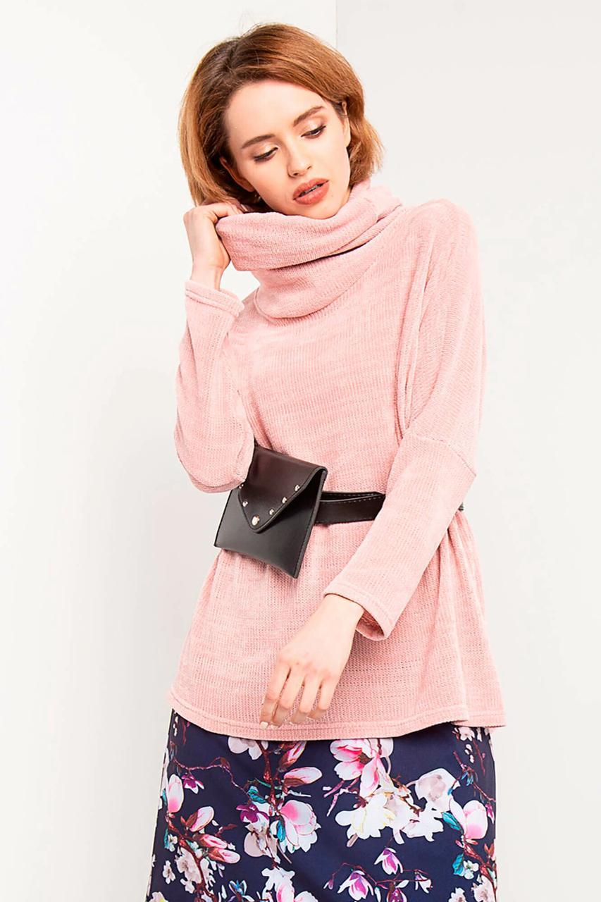 Розовый свитшот JESS из трикотажа вязка с хомутом и боковыми разрезами