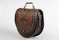 """Эксклюзивная кожаная сумка ручной работы с металлической ручкой, орнамент """"Калина"""""""