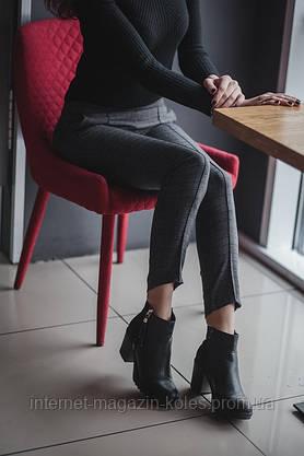 Классические женские брюки в клетку с замочком, фото 2