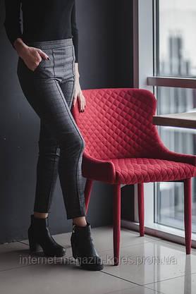 Классические женские брюки в клетку с замочком, фото 3