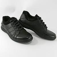 Мужские туфли черного цвета, натуральная кожа, весна-осень