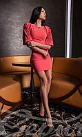 Короткое женское облегающее платье рукав фонарик с перфорацией потайная молния на спине дайвинг, фото 1