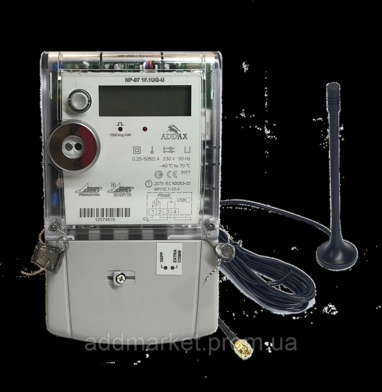 Електролічильник однофазний багатотарифний NP-07 1F.1UG-U, ADD , 80А з GPRS модулем