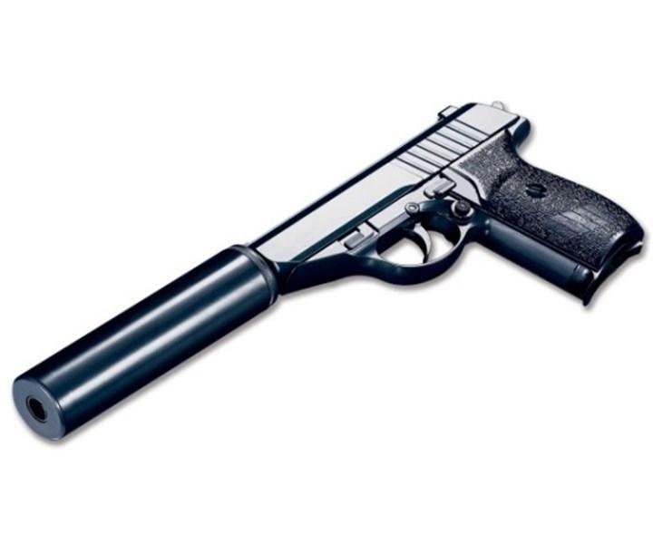 Детский пистолет на пульках G.3А с глушителем, страйкбольный