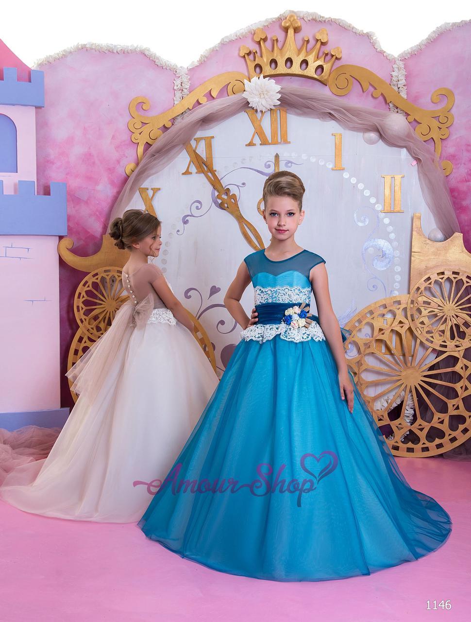 Детское нарядное выпускное платье на девочку 4,5,6,7,8,9,10,11лет (в садик, 4 класс), 1146