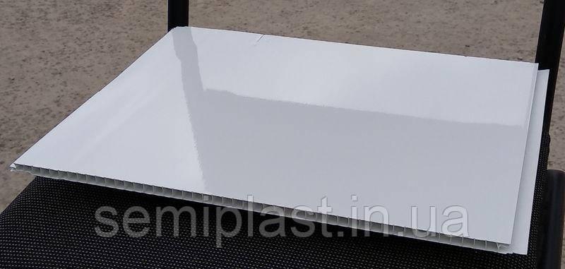 Бесшовная панель лакированная ПВХ Белая 375 мм