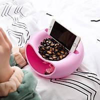 Миска для семечек с подставкой для телефона розовая