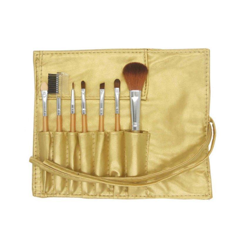 Набор кистей для макияжа в чехле золотой